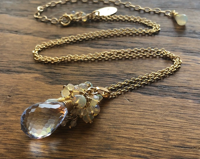 LUXE Topaz Briolette and Opal Cluster Pendant Necklace - 14KT Gold-Filled Chain