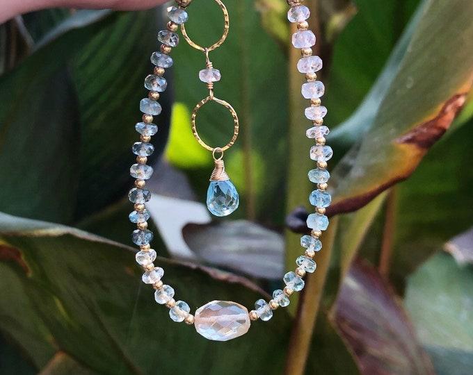 Oregon Sunstone and Pastel Rainbow Aquamarine Bracelet, 14kt Gold-Filled Accents