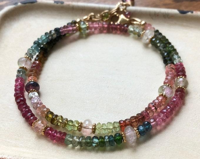 Tourmaline Double Wrap Bracelet - Luxe Tourmaline Gemstone Variety, 14kt GF Accents