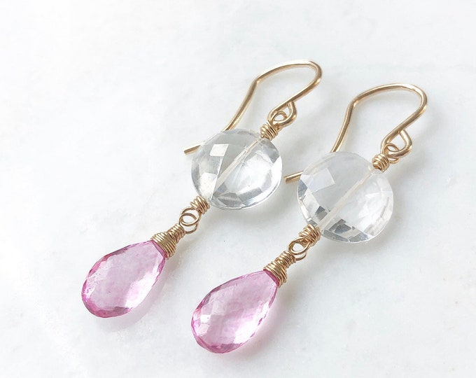 Rock Crystal Coin and Pink Topaz Earrings - Handmade Gemstone Dangles, 14kt GF