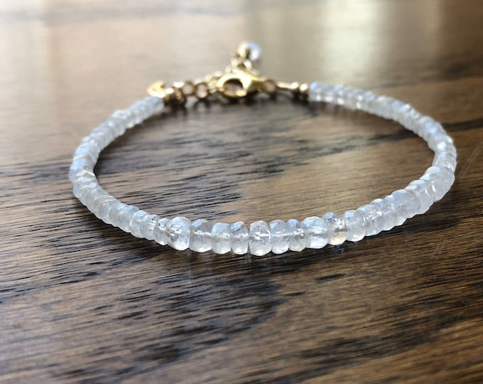 Moonstone Beaded Bracelet with Pave Moonstone Charm, 14kt GF