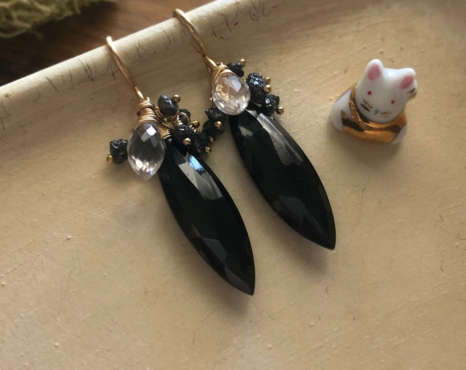Marquise-Cut Onyx Earrings with Raw Black Diamonds and Petite Marquise-Cut Crystal Quartz Gemstones, 14kt Gold Fill