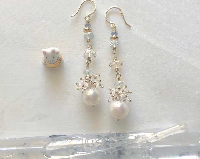 Freshwater Pearl, Moonstone Cluster, Aquamarine, and Topaz Earrings, 14kt Gold Fill