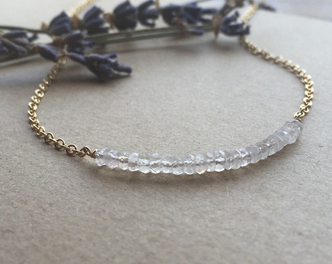 Rainbow Moonstone Bar Necklace, 14kt Gold-Filled Chain