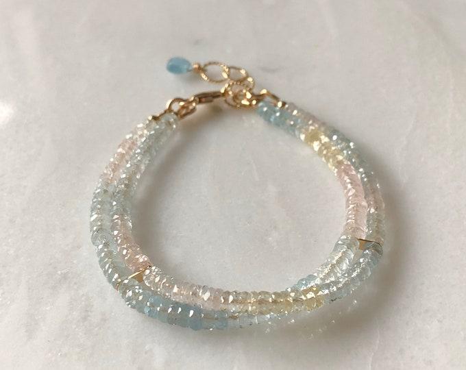 Aquamarine Double Strand Bracelet - Shaded Pastel Rainbow Gemstones, 14kt GF Findings