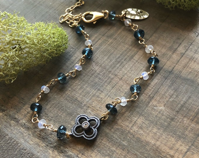 London Blue Topaz, Moonstone, and White Topaz and Marcasite Flower Connector Bracelet