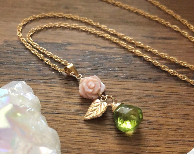 Carved Mother of Pearl Rose Necklace with Peridot Gemstone Drop and Gold Leaf Charm, 14kt Gold Filled