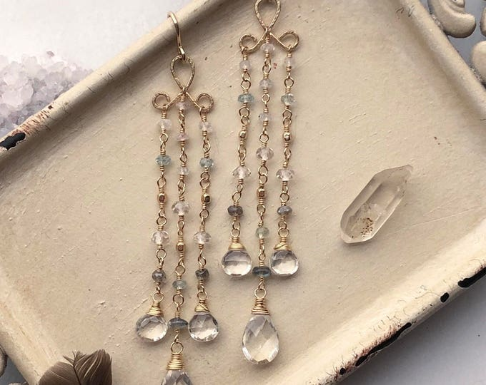 Handmade Bohemian Beaded Gemstone  Chandelier Earrings with Rock Quartz, Aquamarine, Moonstone and Labradorite