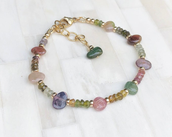 Rainbow Tourmaline Faceted Gemstone Bracelet with Smooth Tourmaline Pebbles, 14kt Gold-Filled Accents