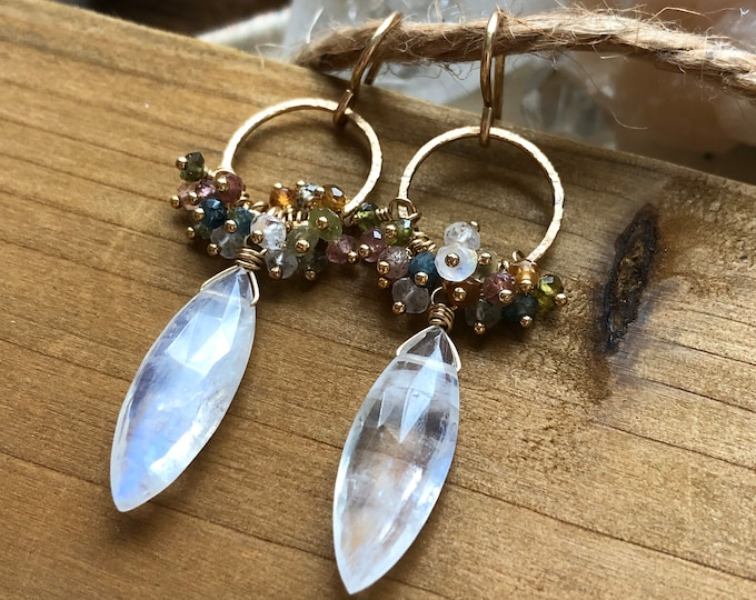 Marquise-Shaped Moonstone and Rainbow Tourmaline Gemstone Wreath Earrings - 14kt GF