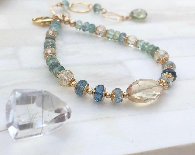 Oregon Sunstone and Aquamarine Ornate Patterned Bracelet, 14kt Gold Fill