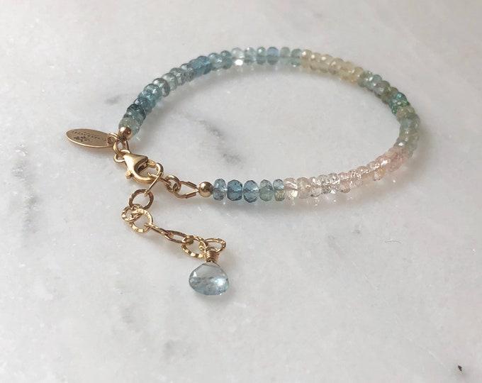 AAA Luxe Shaded Aquamarine Bracelet - Rainbow Gemstone Beaded Bracelet, 14kt GF Accents