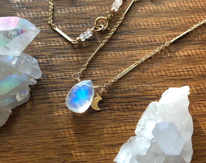 Flashy Moonstone Necklace with Dainty Gold Moon Charm, Fancy 14kt Gold-Filled Bar Chain