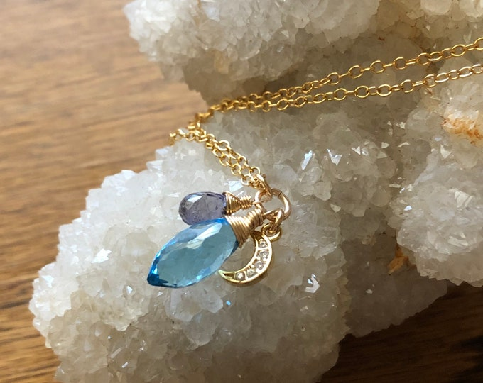 Petite Blue Moon Baby Charm Necklace, Wire-Wrapped Gemstones on Dainty Gold Filled Chain