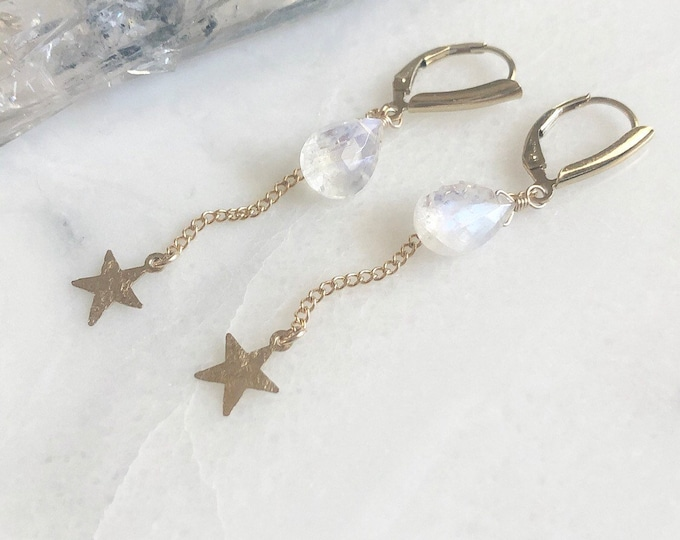 Shimmering Moonstone Earrings with Gold Falling Star Charm