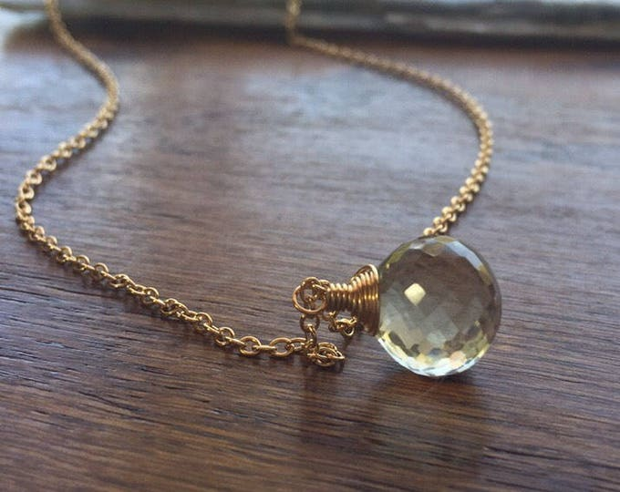 "Prasiolite ""Crystal Ball"" Necklace - 14kt Gold-Filled Chain"