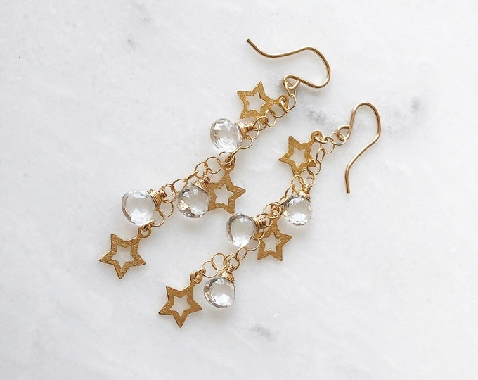 Star Falls Dangle Earrings - Wire Wrapped Rock Crystals, 14kt GF