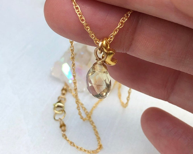 Fancy Wrapped Sunstone Briolette Necklace with Puffed Gold Moon Charm, 14kt Gold Filled Chain