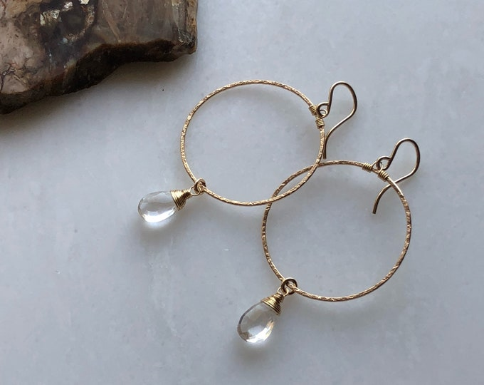 Shimmery Gold Hoops with Wire-Wrapped Rock Crystal Gemstones