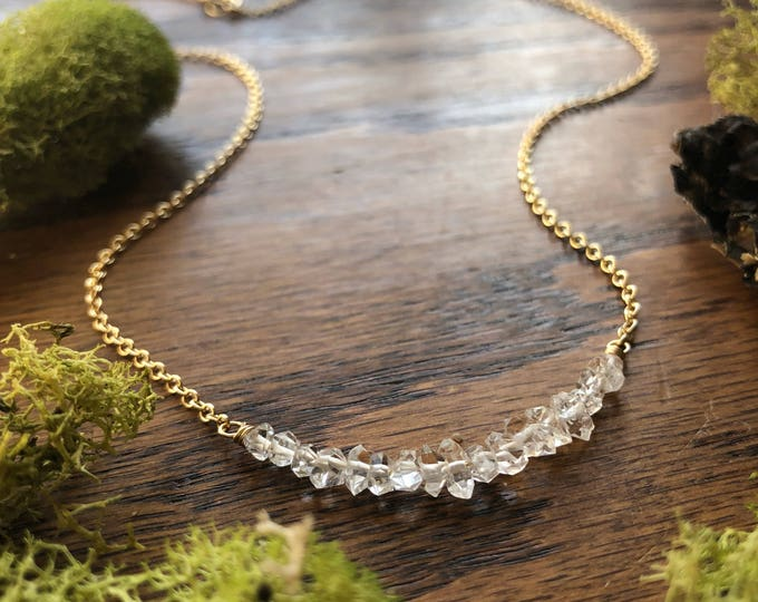 Herkimer Diamond Bar Necklace, 14kt Gold-Filled Chain