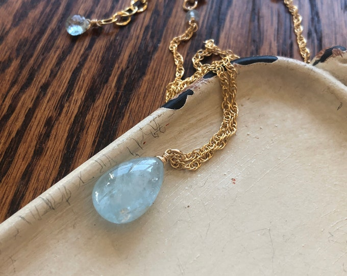 LUXE Aquamarine Solitaire Necklace - Icy Blue Gemstone Drop on 14kt Gold Filled Chain
