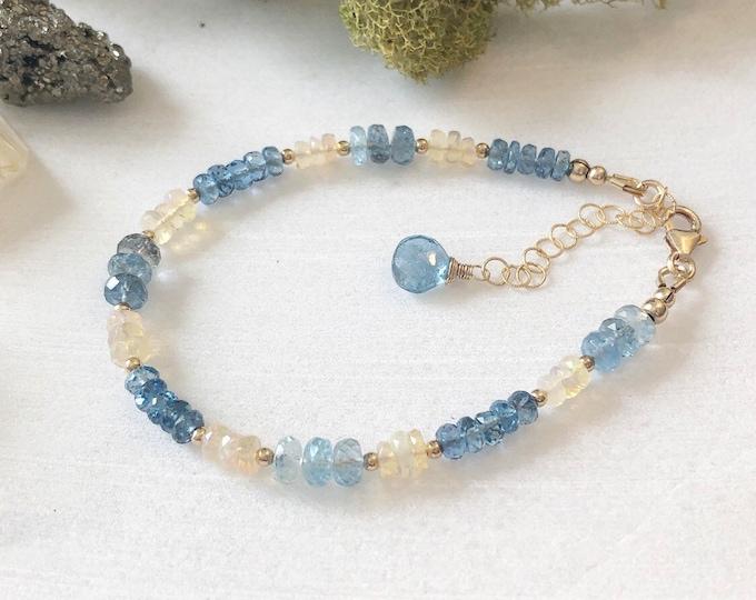 Flashy Opal, Aquamarine, and Santa Maria Aquamarine Beaded Bracelet, 14kt Gold-Filled Accents