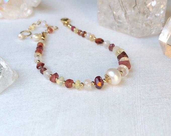 Ornamental Garnet, Spinel, Tourmaline, Opal, Moonstone, and Pearl Bracelet, 14kt Gold Fill