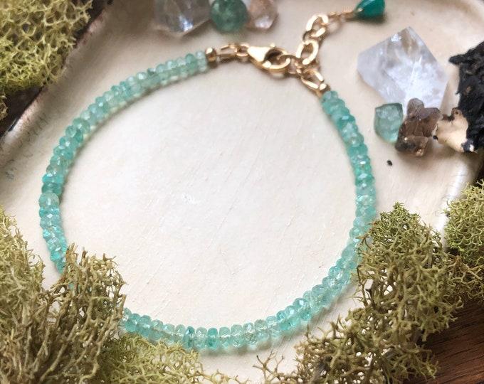 Emerald Beaded Bracelet - Handmade Gemstone Bracelet, 14kt GF Accents