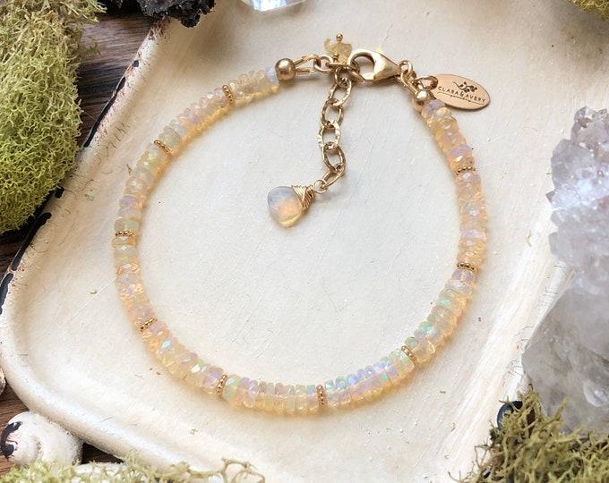 Genuine Opal Beaded Bracelet - Flashy Welo Opal Gemstones, 14kt GF Findings