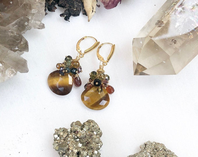 Tiger's Eye Earrings with Autumn Mix Gemstone Clusters, 14kt Gold Fill
