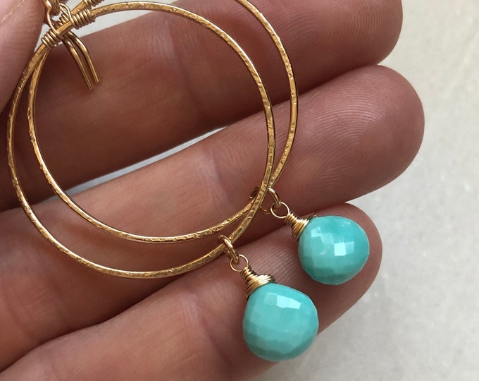 Shimmery Gold Hoops with Wire-Wrapped Sleeping Beauty Turquoise Gemstones, 14kt Gold Fill