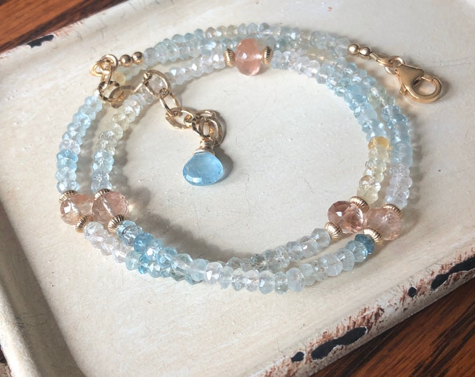 Luxury Aquamarine, Oregon Sunstone, and 14kt GF Gemstone Wrap