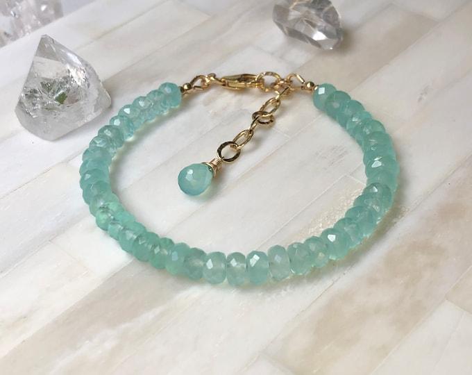 Aqua Chalcedony Beaded Bracelet, 14kt Gold Fill