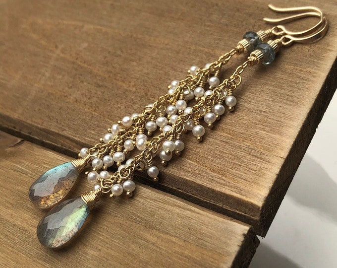 Lacy Freshwater Pearl Cascade Earrings with Labradorite and Aquamarine, 14kt Gold-Filled