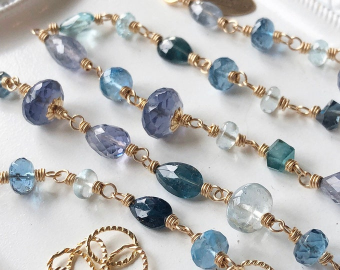 OOAK Luxe Wire-Wrapped Multi-Gemstone Link Necklace, Tourmaline, Aquamarine, London Blue Topaz, Iolite, Apatite, 14kt GF