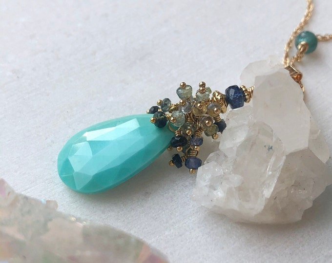 Sleeping Beauty Turquoise and Sapphire Cluster Pendant Necklace - 14kt Gold Fill