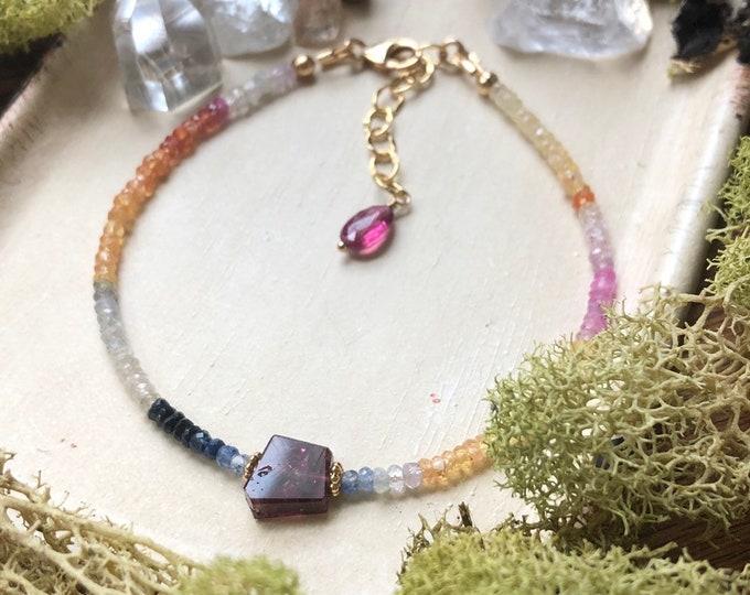 Multi-Colored Sapphire Bracelet, Tourmaline Accents, 14kt GF