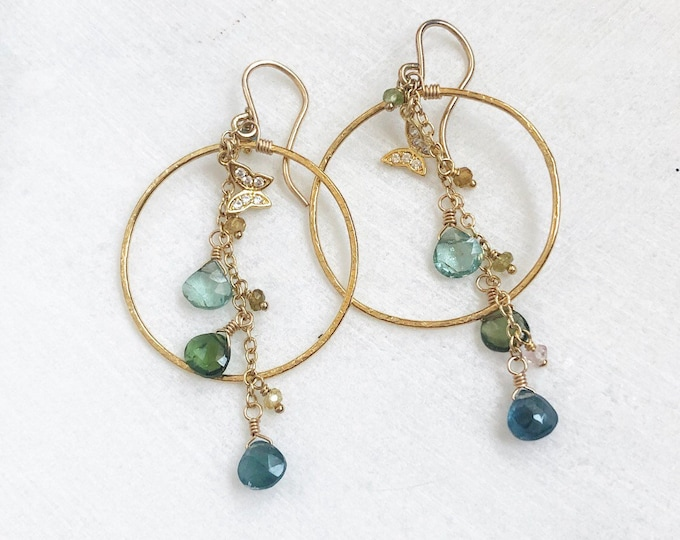 Green Tourmaline and Bejeweled Butterfly Shimmery Gold Hoop Earrings