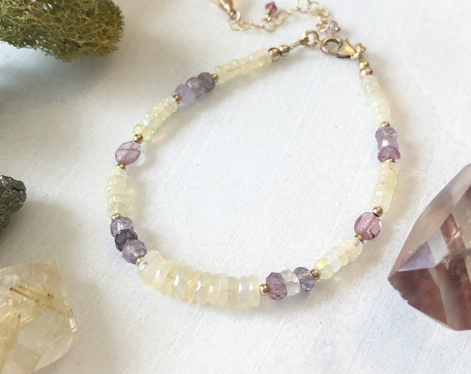 Flashy Opal, Spinel, and Pink Tourmaline Beaded Bracelet, 14kt Gold-Filled Accents