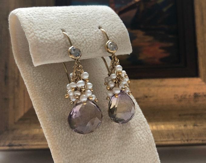 OOAK AAA Ametrine Drops with Petite Pearl Clusters Earrings - Luxe 14kt GF Gemstone Earrings