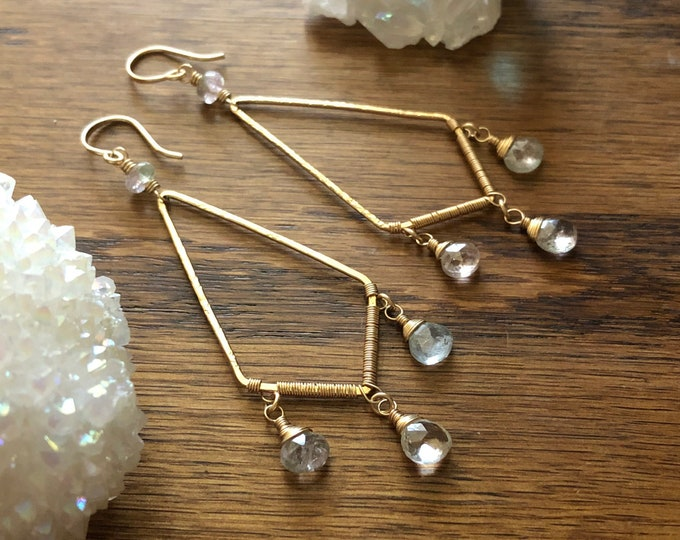 Wire-Wrapped Kite-Shaped Chandelier Earrings with Pale Afghanistan Tourmaline, Gold-Filled