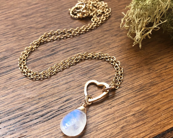 Petite Gold Heart Pendant and Moonstone Teardrop Necklace, 14kt Gold Fill