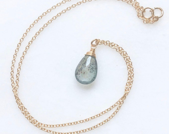 Moss Aquamarine Teardrop Necklace - Wire Wrapped Faceted Gemstone, 14kt Gold Filled Chain