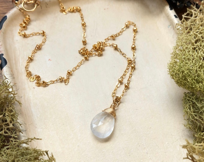 Faceted Moonstone Necklace, 14kt Gold Filled Beaded Chain