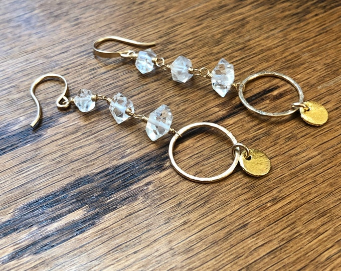 Herkimer Diamond Boho Dangle Earrings, 14kt GF