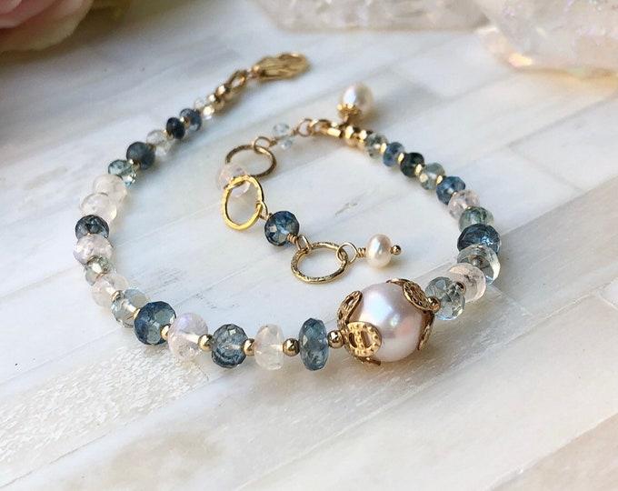 Ornamental Aquamarine, Moonstone, And Pearl Bracelet, 14kt Gold Fill