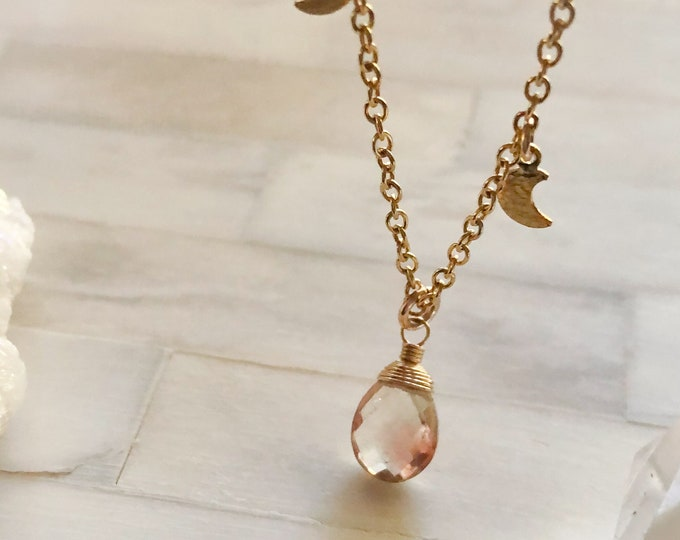 Oregon Sunstone and Dainty Gold Moon Charms Necklace, Delicate 14kt Gold Filled Chain