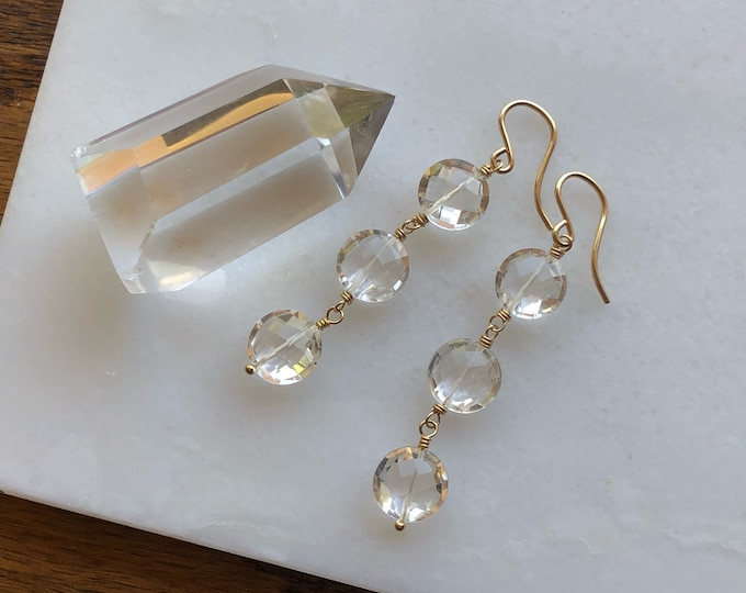 Rock Crystal Coins Trio Dangle Earrings - 14kt GF