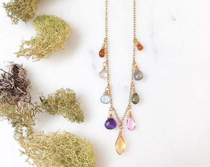 Multi Gemstone Necklace, Petite AAA Labradorite, Aquamarine, Citrine, Amethyst, Sapphire, and Topaz on 14kt GF Chain