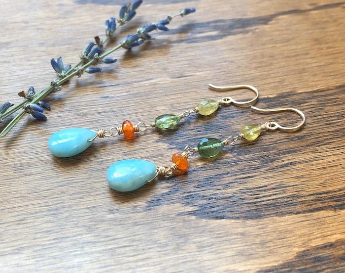 OOAK Larimar, Carnelian, and Tourmaline Wire-Wrapped Dangle Earrings, 14kt GF
